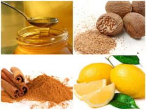 Honey, lemon, cinnamon and nutmeg for face mask